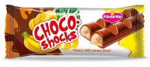 "Wafers moulded glazed ""Choco-Shocks"" with banana flavor"